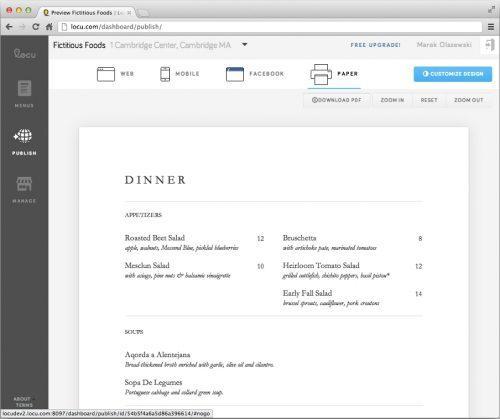 menu sample Locu