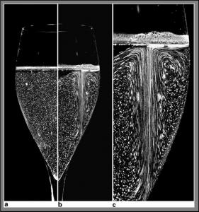 """La tomografia laser rivela le caratteristiche del flusso ascensionale all'interno di una """"flute"""" di champagne. In (a) il bicchiere è stato accuratamente lavato con acido formico in modo da eliminare qualsiasi potenziale nucleo per la formazione delle bolle. Il liquido, dopo trenta secondi dal versamento nel bicchiere è perfettamente in quiete. In (b) il bicchiere non trattato mostra l'effervescenza naturale e si nota bene il """"treno"""" di bollicine. (c) è un particolare di (b)."""
