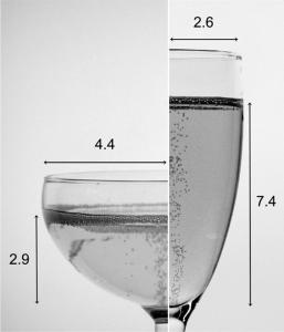 """I raggi di apertura e i livelli del liquido (in cm )di una """"flute"""" (a destra) e una coppa (a sinistra). Entrambi i bicchieri sono stati riempiti con 100 ml di champagne. Queste sono state le condizioni iniziali per tutta una serie di esperimenti successivi."""
