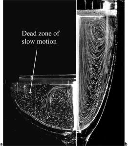 """Le traiettorie a grande scala del flusso di bollicine, guidate dalla corrente ascensionale nel caso di una coppa e di una """"flute"""" Nel primo caso si nota una tipica zona """"morta""""."""