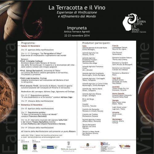 Invito La Terracotta e il vino 2014