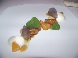 Animelle, mela, patata affumicata