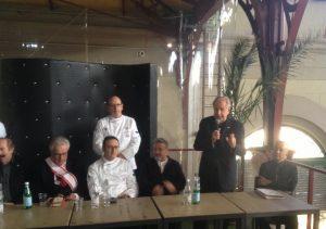 Un momento della presentazione di Food and Wine in Progress questa mattina al Mercato Centrale di Firenze